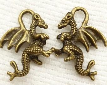 Antique bronze 3D Dragon Serpent Charms (6) - A22