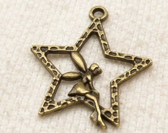 Fairy or Angel Sitting on Star Charm Pendant, Antique Bronze (6)  - A94