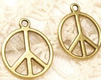 Antiqued Bronze Tone Peace Symbol Charms (8) - A89