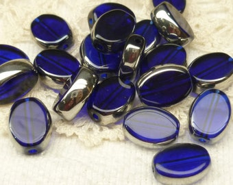 13mm Royal Blue Crystal Oval Coin Glass Beads (10)