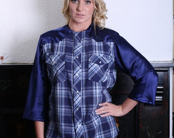 Customised Vintage Blue Check Shirt with Raglan Sleeve Detail