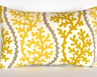 Accent Pillow -Decorative  Home Decor Pillow - Spring Home Decor - Yellow Gray Accent Pillow - Floral Pillow