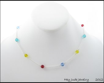 Handmade Necklace - Autism Awareness - Sterling Silver, Bright Colors, Fun - Perfect Holiday Gift