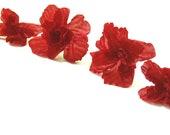 Red silk flower hair pins, set of 4