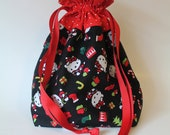 SALE Hello Kitty fabric Lined Drawstring bag, great for gifts or projects