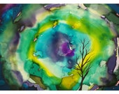 P11 - Surrealistic Trees Psychedelic Postcard
