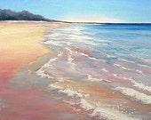 Scottish landscape original oil painting, Arran beach scene. Waves Rolling in at Sandbraes