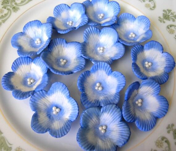 Indigo / Royal Blue BLOSSOMS  Medium / Gum Paste Flowers / Cake Topper and Cupcake Decorations