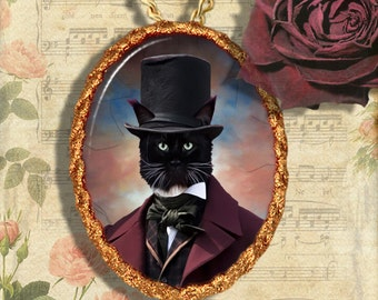Black Cat Maine Coon Jewelry Pendant Necklace - Brooch Handcrafted Ceramic