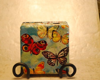 Butterflies Galore Custom Made Ceramic Tile Coasters set of 4 or more