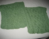 Sage Green Cable Knit Dishcloth- may be made to order in different colors.
