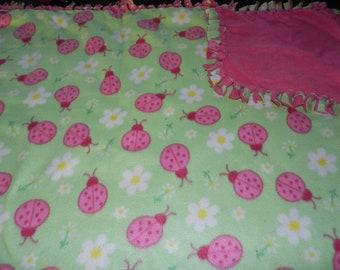 Ladybugs Mint Green Fleece Ties Blanket, Ladybugs blanket, fleece