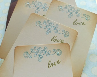 Vintage wedding wish cards, retro guest book alternative, beach theme stationery set with blue swirls and 'love' in green, set of 10.