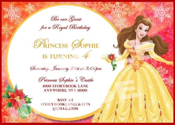 Items similar to Beauty and the Beast Invitation - Belle Invitation - Disney Princess Christmas ...