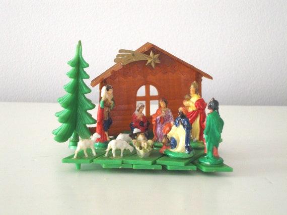 Vintage Nativity Set Small Plastic Claco 1963