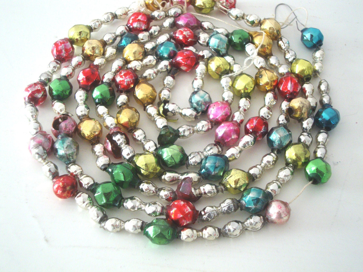 Vintage mercury glass pastel christmas bead garland beads