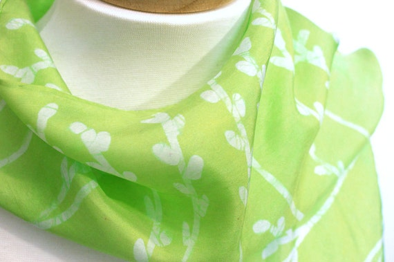 Hand Dyed Silk Scarf  with Spring Green and Silver Grey Pussy Willows, Ready to Ship