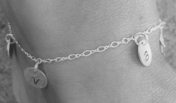 Personalized initial anklet, Sterling silver summer jewelry, Beach wedding jewelry, Custom made anklet, Mommy jewelry, Everyday wear, Anklet