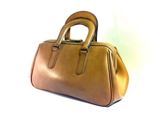 Large Maple Leather Doctor Bag Satchel - Structured Lock Box Top Handle Bag
