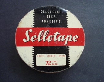 Uncommon Vintage SELLOTAPE TIN BOX - Made in England - for Canadiam Market