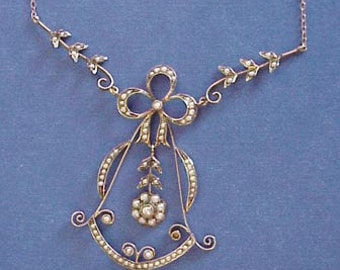 TIMELESS PERFECTION  14k Antique Gold Necklace Lavaliere Early 1900s