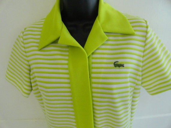 Vintage 1970s Chemise Lacoste Dress in Lime Green and White Stripe