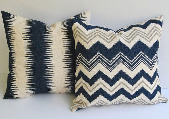 """Navy and Natural pillow covers set of two 18"""" x 18"""" Zazzle zig zag chevron stripe in navy natural and gray grey"""
