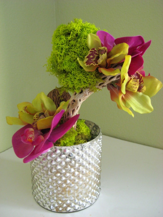 Unique Tropical Combination of Preserved & Silk Artificial Orchids on Moss Tree in Mercury Glass- SPECIAL ORDER