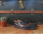 Vintage Brown and Black Leather Oxfords Ladies Size 9