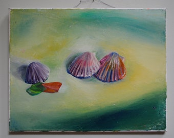 Original painting sea shells & sea glass 11x14