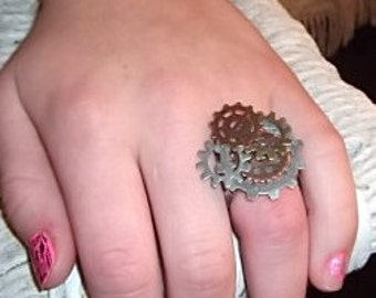Gears Here Steampunk Ring