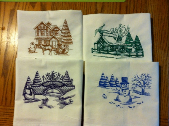 Toile Winter Scenes on 30 x 30 Heavy Organic Cotton Flour Sack Towels. You Choose Color and Design