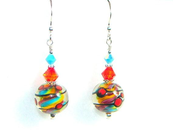 Purple Orange Teal Lime Green Lampwork Earrings, Glass Bead Earrings, Glass Earrings, Rainbow  Earrings