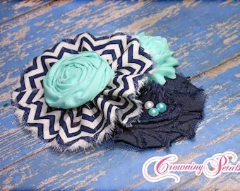 Aqua, Navy, White Hair Accessory, Baby Girl's Flower Headband, Fabric Flower Brooch, Flower Hair Bow, Infant Flower Clip