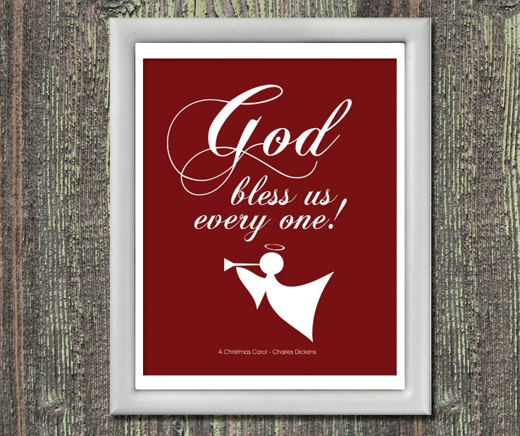 GOD BLESS Us Every One Typography Art by JaneAndCompanyDesign