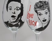 I Love Lucy, Wine Glasses, Lucille Ball, painted wine glass, Desi Arnaz, hand painted