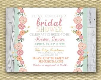 Rustic Bridal Shower Invitation, Garden Floral, Printable Invite