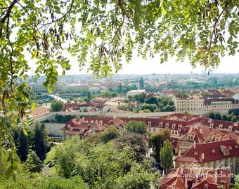 Prague Castle images, Travel photography, Red roof, Green foliage, 8x12, vista, woodlands, shabby chic, Christmas for home, under 50.