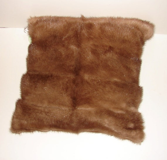 P-13 Genuine Chocolate Brown Mink Fur Pillow 16 x 16 Great Decor and Gift
