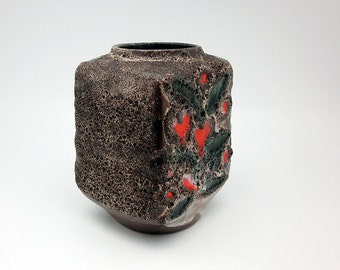 Hand-painted fat lava vase by Strehla (VEB, 1211)