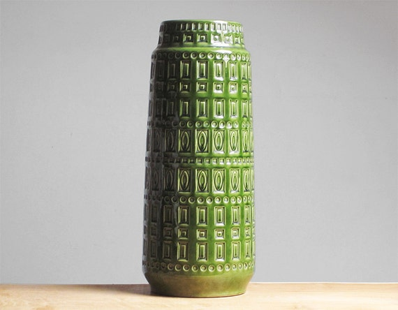 "Large green ""Inka"" floor vase by Scheurich (260-40)"