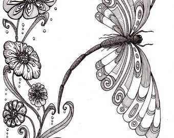 Dragonfly and shell. Beautiful and original whimsical abstract psychedelic stylised Ink drawing illustration dragonfly flower shell