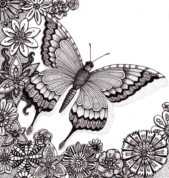 Flutter By Butterfly.  Beautiful and original whimsical abstract psychedelic Ink drawing illustration butterfly flowers