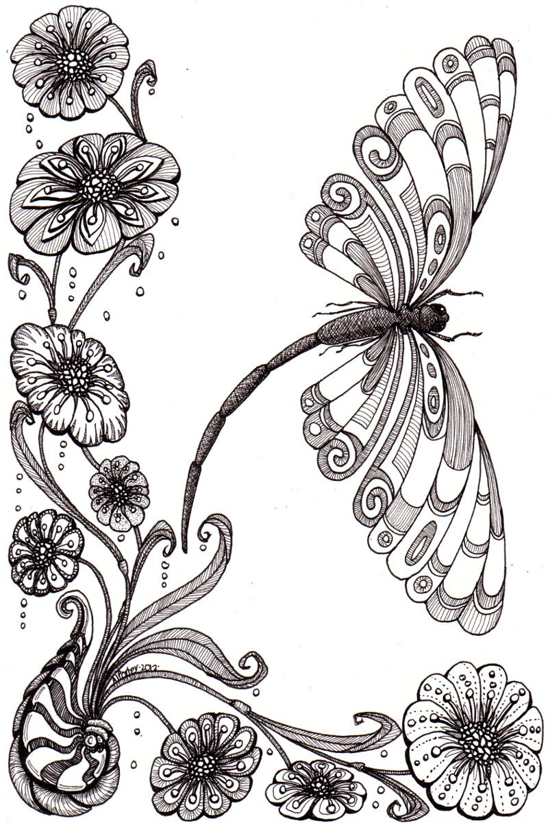 Whimsical dragonfly drawings - photo#12