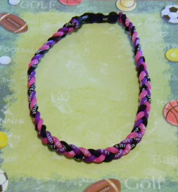 Titanium Tornado 3 Braid  Rope Sports Necklace -Pink, Purple & Black