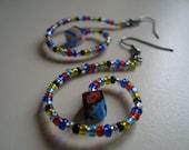Spiral indian summer seed beaded rainbow multicolor cube simple earrings