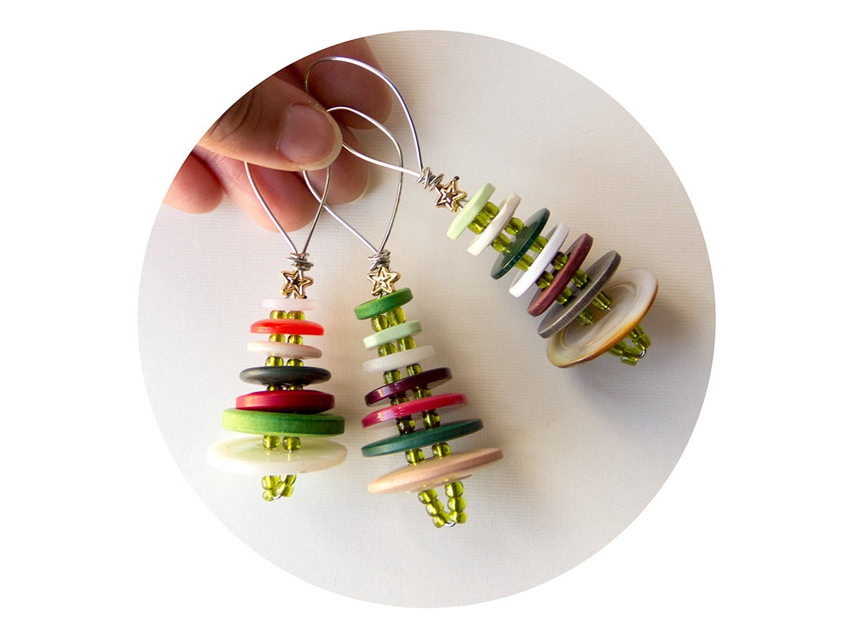 Ornament Set Vintage Button Christmas Tree Trio By