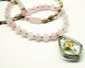 Rose quartz necklace with flower jasper, vintage German vitrail cross