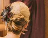 Purple and Gray Bridesmaid or bridal feather fascinator hair piece