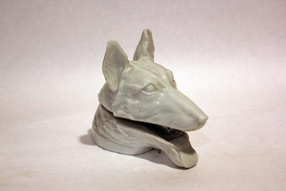 CERAMIC DOG STAPLER - Office supplies for dog lovers, German Shepard in white glaze (c. 1960s-70s)
